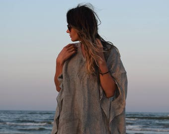 Linen oversized top. Relaxed fit tunic. Washed linen top.