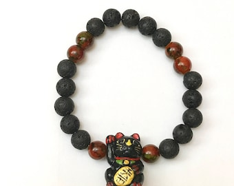 Maneki Neko beaded stretch bracelet / anklet