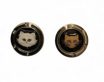 ONE brown / white cat purse hanger / purse hook