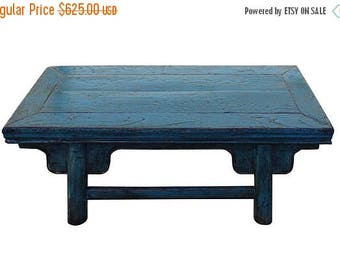 Sales Chinese Distressed Rustic Light Blue Low Kang Table cs2758S