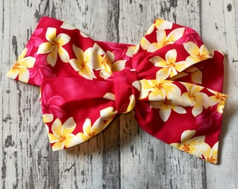 Hawaiian Floral Headwrap, Pink, Flower Headwrap, Baby Headband, Toddler Bows, Big Bow, Tied, Hot Pink, Turban Infant Headwrap, Baby Girl
