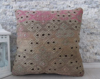 Modern Decorative Turkey Pillow 18x18 Natural Color Straight Woven Vintage Kilim Pillow Boho Pillow Turkish Bolster Organic Pillow