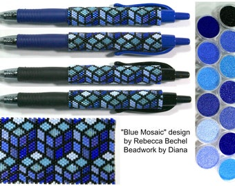 Blue Mosaic by Rebecca Bechel beaded PEN kit (pattern sold separately)