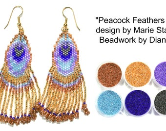 Peacock Feathers 3 by Marie Starr beaded EARRINGS kit (pattern sold separately)