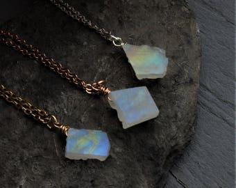 Small Raw Moonstone Necklace, Raw Rainbow Moonstone, Moonstone Rose Gold, Raw Crystal Necklace, Raw Moonstone Crystal, Raw June Gemstone,