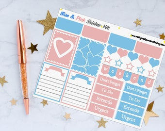 Baby Blue and Pink Planner Sticker Kit, Abstract Planner Stickers, Weekly Sticker Kit, Vinyl Stickers