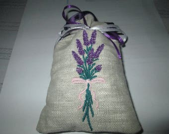 Lavender sachet with Ribbon and pretty sprig of lavender embroidery