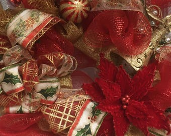 Red Gold Deco Mesh Wreath