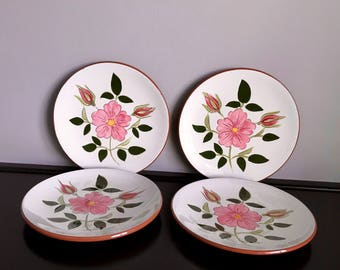 Set of 4 Stangl Wild Rose Bread and Butter Plates