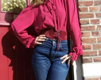Love her madly - Vintage 70s Red Ruffled Blouse with sissy bow -Bohemian Lavalliere Style