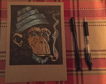 Devo smoking monkey chimpanzee mark mothersbaugh handpainted signed by the artist charles state