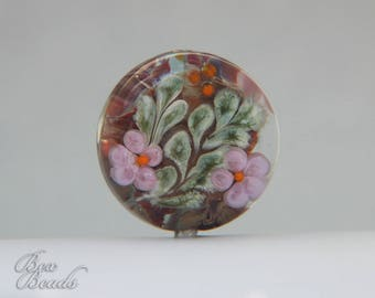 Wild Rose lampwork focal bead