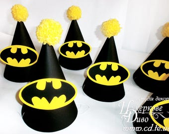 Set Party hat Batman - Boys birthday hat - Boy party - Photo Prop Birthday Party Hat - Batman inspired party hat - Superhero party hats