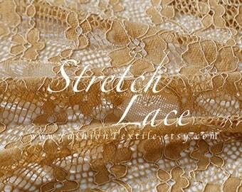 khaki lace fabric stretch lace by the yard