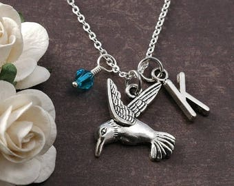 ON SALE Hummingbird Necklace, Initial birthstone, Hummingbird Jewelry, silver hummingbird charm, personalized hummingbird pendant