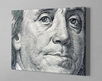 Money Art - Benjamin Franklin Face - 100 dollar bill canvas - 100 dollar bill print - money abstract
