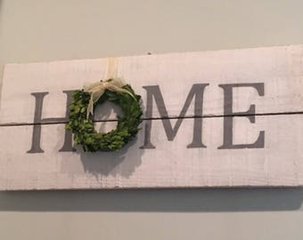 Distressed Home Sign, Farmhouse Home Sign, Rustic Painted Home Sign, Wooden Home Sign, Pallet Wood Sign HOME