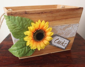 Wedding Card Box with Sunflower Detail! Rustic Wedding, Country Wedding, Fall Wedding, Bridal Shower Card Box, Baby Shower Card Box