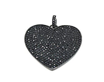 Diamond heart etsy micro pave heart pendant pave black diamond cz pendant black diamond heart charm mozeypictures Gallery