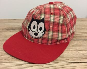 Felix The Cat Vintage American Needle Plaid Checkered Red White Snapback Cap Hat