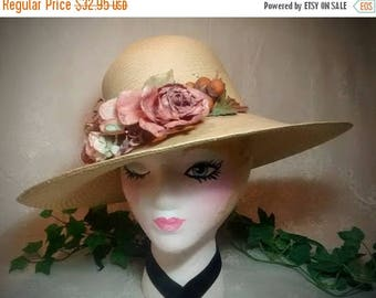 ON SALE Vintage Ladies Straw Hat – Cream-Colored with Cluster of Roses and Fruit