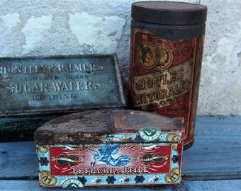 Decorative Rusty French Vintage Tins/Collectors Aged Rustic Tins/French Display Tins/Vintage Paper Label Tins