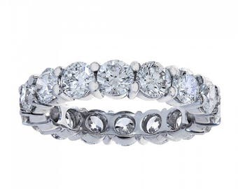 3.84 Carat Round Cut Diamond Eternity Band Ring 14k White Gold