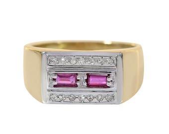 0.30 Carat Baguette Cut Ruby 0.14 Carat Diamond Man's Ring 14K Two Tone Gold