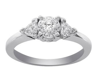 1.00 Carat Three Stone Round & Trillion Cut CZ Ring 14k White Gold