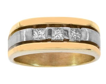 0.55 Carat Princess Cut Diamond Mens Ring 14K Two Tone Gold