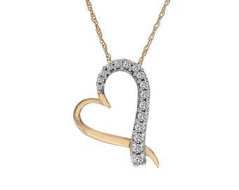 0.70 Carat Round Cut Diamond Heart Pendant 10K Yellow Gold With 14K Yellow Gold Chain
