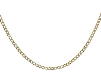 "Curb Link Diamond Cut Made In Italy 18K Yellow Gold Over Silver Solid 20"" Chain"