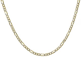 18k Yellow Gold Over Silver Figaro Link Chain Made In Italy 18""