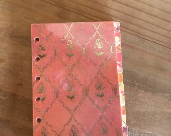 Coral gold foil personal or A5 planner divider sets. Planner inserts. Planner set. Pagemarker. Planner supplies. Planner accessories. Agenda