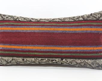 Decorative Kilim Pillow Sofa Pillow Embroidered Kilim Pillow 12x24 Striped Kilim Pillow Handwoven Kilim Pillow Cushion Cover  P3060-1126