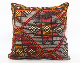 Anatolian Embroidered Kilim Pillow 24x24 Large Kilim Pillow Sofa Pillow Turkish Kilim Pillow Floor Pillow Cushion Cover  SP6060-1295