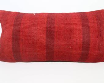 Sofa Pillow Red Lumbar Kilim Pillow Boho Pillow 12x24 Handwoven Kilim Pillow Decorative Kilim Pillow Cushion Cover SP3060-1459