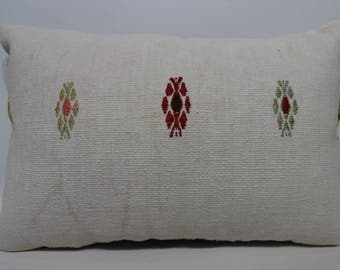 White Kilim Pillow Bedroom Pillow 16x24  Chic Pillow 16x24 Patterned Kilim Pillow Throw Pillow Home Decor Decorative Pillow  SP4060-948