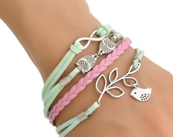 Bracelet leather pink and Green Velvet with chain Theme bird leaves OWL and infinite women