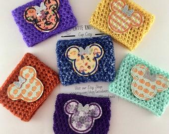 Minnie Mickey Halloween Fall Autumn Coffee Cup Cozy / Crochet Coffee Sleeve / Reusable Cozie / Customizable