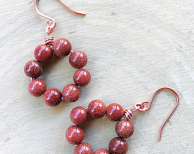 Goldstone Earrings, Healing Crystal Jewelry, Sparkly Gemstone Beads, Copper Earring, Rose Gold, Bohemian, Gifts For Her, Bridesmaid Gift