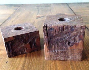 Primitive Solid wood Candle Stick Holders Block set of 2 Dark Stained Rustic Taper Wax CandleStick Chamberstick Holder Votive Farmhouse prop