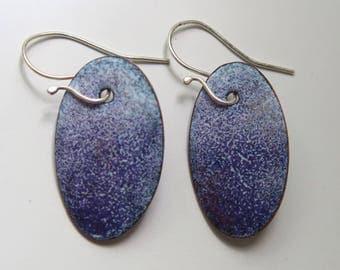 Enamel - Earrings - Purple - White- Sterling Ear Wires