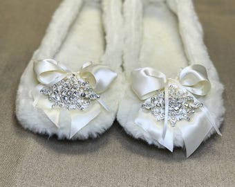Bride or Bridesmaid Luxury Diamonte  cream Ballet slipper