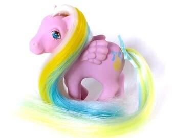 G1 My Little Pony Curly Locks Princess Brush n Grow Long Hair Growing Ponies ponytail Cutie Mark Ribbon Original Hasbro 80s Brony Pegasus