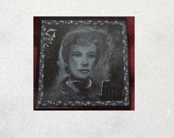Original Portrait of Julia Hoffman from Dark Shadows. Mixed media art on wooden panel.