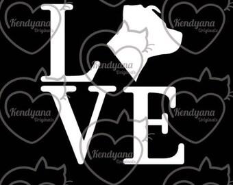 LOVE window decal- car decal- Pit bull, German Shepherd, Boxer, Golden Retriever, Labrador Retriever, or Cat
