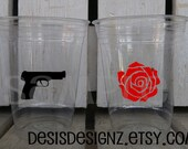 24 Guns or Roses vinyl decals glitter party Birthday party decoration gun decal birthday party vinyl cup sticker party cup sticker rose