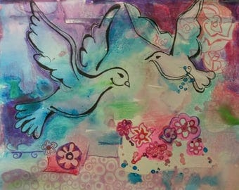 Dove mixed media drawing