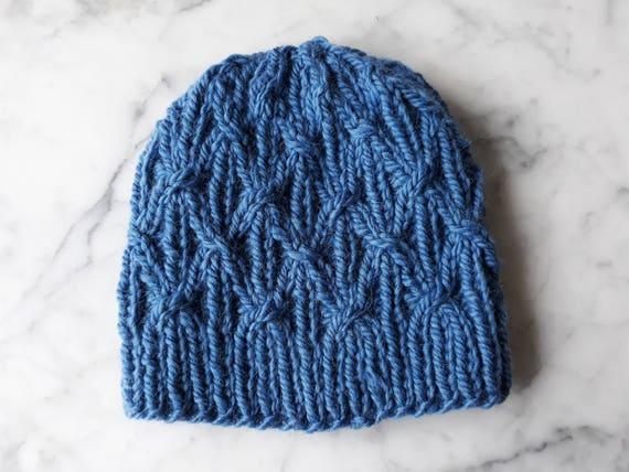 Blue knit beanie: handknit hat in luxury wool/alpaca yarn. Made in Ireland. Original design. Chunky knit beanie. Men's beanie. Women's hat.